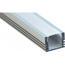 Профиль накладной алюминевый, САВ261 2м., матовый экран 2 заглушки, 4 крепежа для светодиодных лент