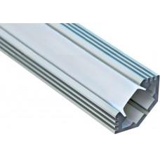 Профиль угловой алюминевый, САВ272 2м., матовый экран 2 заглушки, 4 крепежа для светодиодных лент