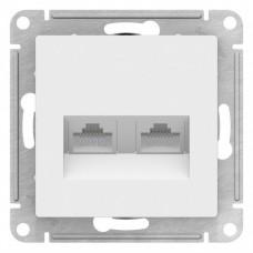 Розетка ATLASDESIGN двойная компьютерная RJ45+RJ45 категория 5E механизм белый