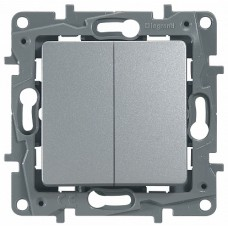 ETIKA Выключатель/Переключатель двухклавишный алюминий автоматические зажимы 10AX