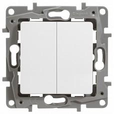ETIKA Выключатель двухклавишный белый винтовые зажимы 10AX