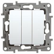 ETIKA Выключатель трехклавишный белый винтовые зажимы 10AX