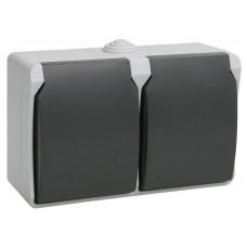 ФОРС Розетка двойная наружная с заземлением с крышкой IP54 (IEK) РСб22-3-ФСр