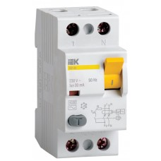 Выключатель дифференциального тока (УЗО) 2п 63A 30mA тип AC ВД1-63 ИЭК MDV10-2-063-030