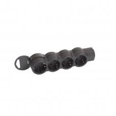 Многорозеточный блок ''Стандарт'' 4 x 2К+З - поставляется без кабеля черный