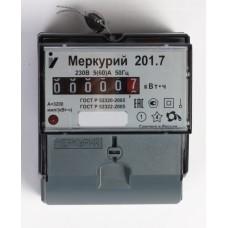 """Счетчик электроэнергии """"Меркурий"""" 201.7 1ф 5-60А 1 тариф., имп. вых. мех, DIN ОУ"""