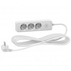 Удлинитель Unica Extend 3 розетки 2К+З кабель 3м белый Schneider Electric