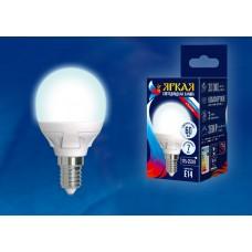 Uniel Лампа светодиодная, матовая шар LED-G45-7W/NW/E14/FR PLP01WH 4000k белый свет. Серия Яркая