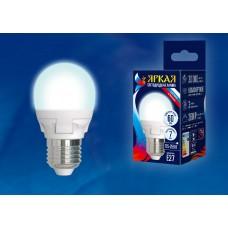 Uniel Лампа светодиодная, матовая шар LED-G45-7W/NW/E27/FR PLP01WH 4000k белый свет. Серия Яркая