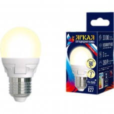 Uniel Лампа светодиодная, матовая шар LED-G45-7W/WW/E27/FR PLP01WH 3000k тепл белый свет Серия Яркая