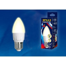 Uniel Лампа светодиодная, матовая свеча LED-C37 7W/WW/E27/FR PLP01WH 3000k тепл.бел.св. Серия Яркая