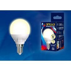 Uniel Лампа светодиодная, матовая шар LED-G45 7W/WW/E14/FR PLP01WH 3000k тепл белый свет Серия Яркая
