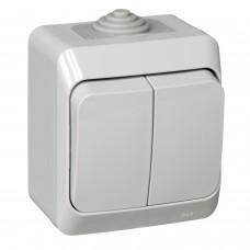 Выключатель 2-кл. ОП Этюд 10А IP44 сер. SchE
