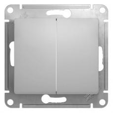 GLOSSA Выключатель 2-кл в рамку алюминий
