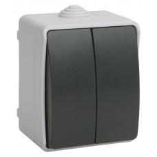 ФОРС Выключатель двухклавишный наружный IP54 (IEK)