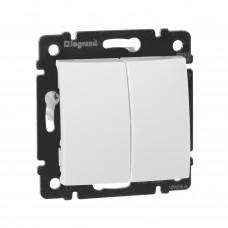 VALENA Выключатель двухклавишный в рамку белый