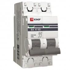 Выключатель автоматический двухполюсной 50А С ВА47-63 4,5кА пломба (EKF)