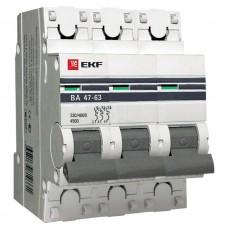 Выключатель автоматический трехполюсной 63А С ВА47-63 4,5кА пломба (EKF)