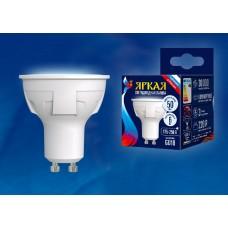 Uniel Лампа светодиодная, матовая LED-JCDR 6W/NW/GU10/FR PLP01WH 4000k белый свет. Серия Яркая